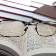 Eyeglasses on books
